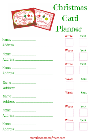 Christmas Card Planner Printable