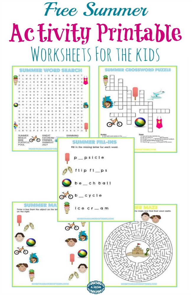 photo regarding Printable Word Fill Ins Puzzles referred to as 5 Free of charge Summer season Match Printable Worksheets - Further Than A