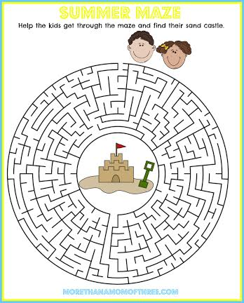 Maze Summer Activity Printable