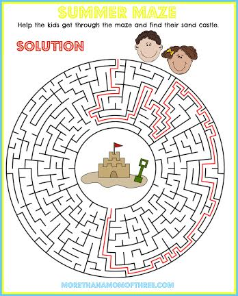 Maze Summer Activity Printables