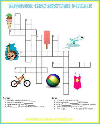 crossword Summer Activity Printables