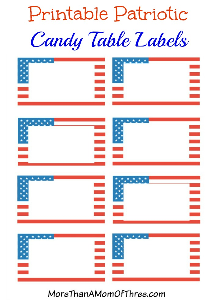 Printable Patriotic Candy Bar Labels