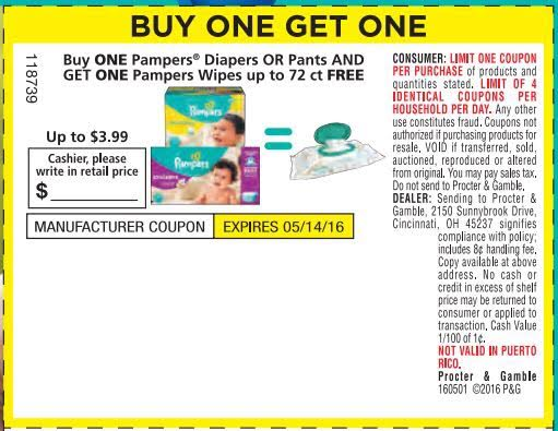 Pampers discount coupons