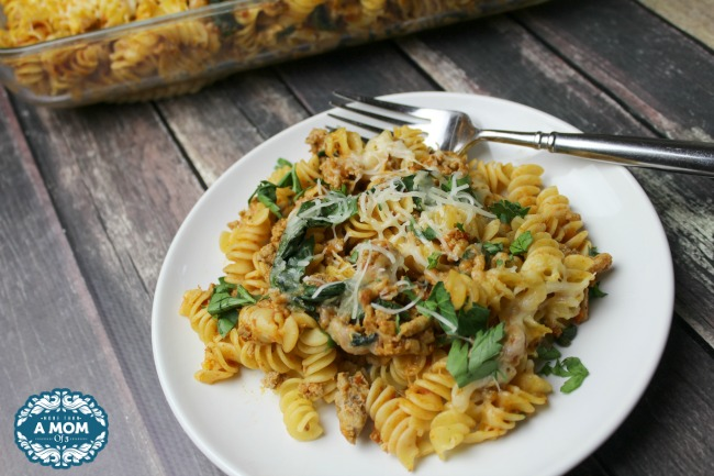 Roasted Garlic Turkey Spinach Pasta Casserole Dish