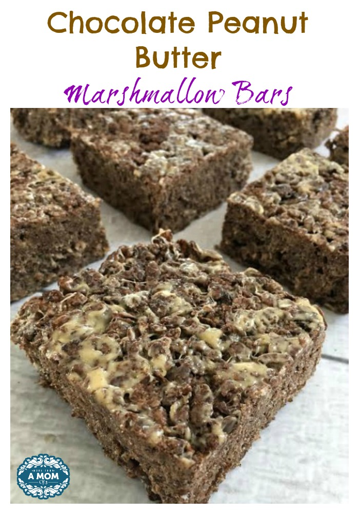 Cocoa Pebble Chocolate Peanut Butter Marshmallow Bars