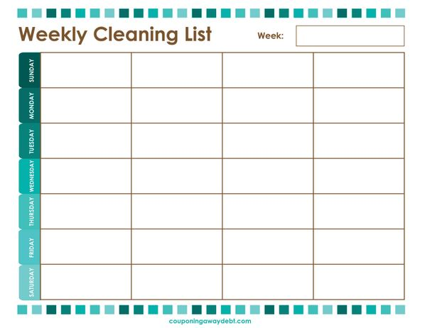 weekly cleaning list printable