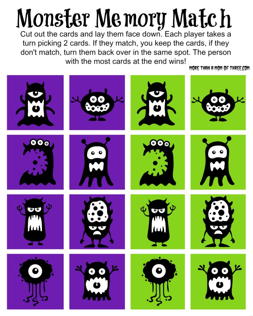 picture relating to Printable Match Game referred to as Totally free Halloween Monster Memory Activity Video game Printable - Further more