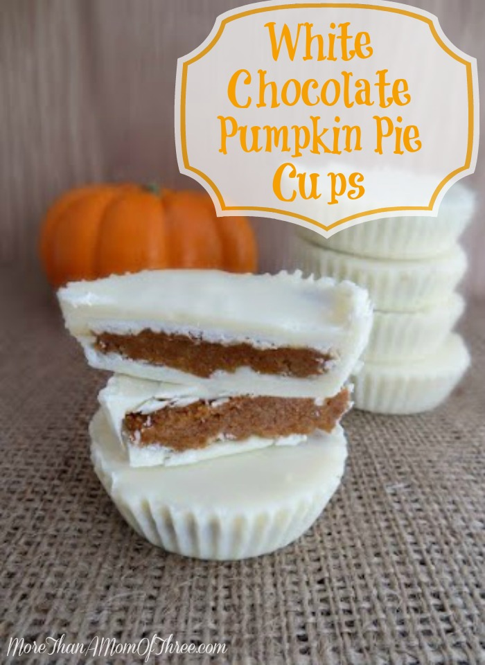White Chocolate Pumpkin Pie Cups from More Than a Mom of Three featured on Belle of the Kitchen