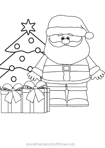 santa with gifts coloring page