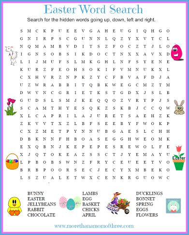 Easter Crossword Word Puzzle Answer The Questions To Complete