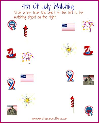 4th of july matching activity sheet