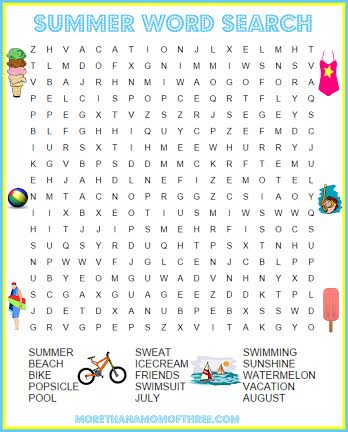 word search summer activity printables