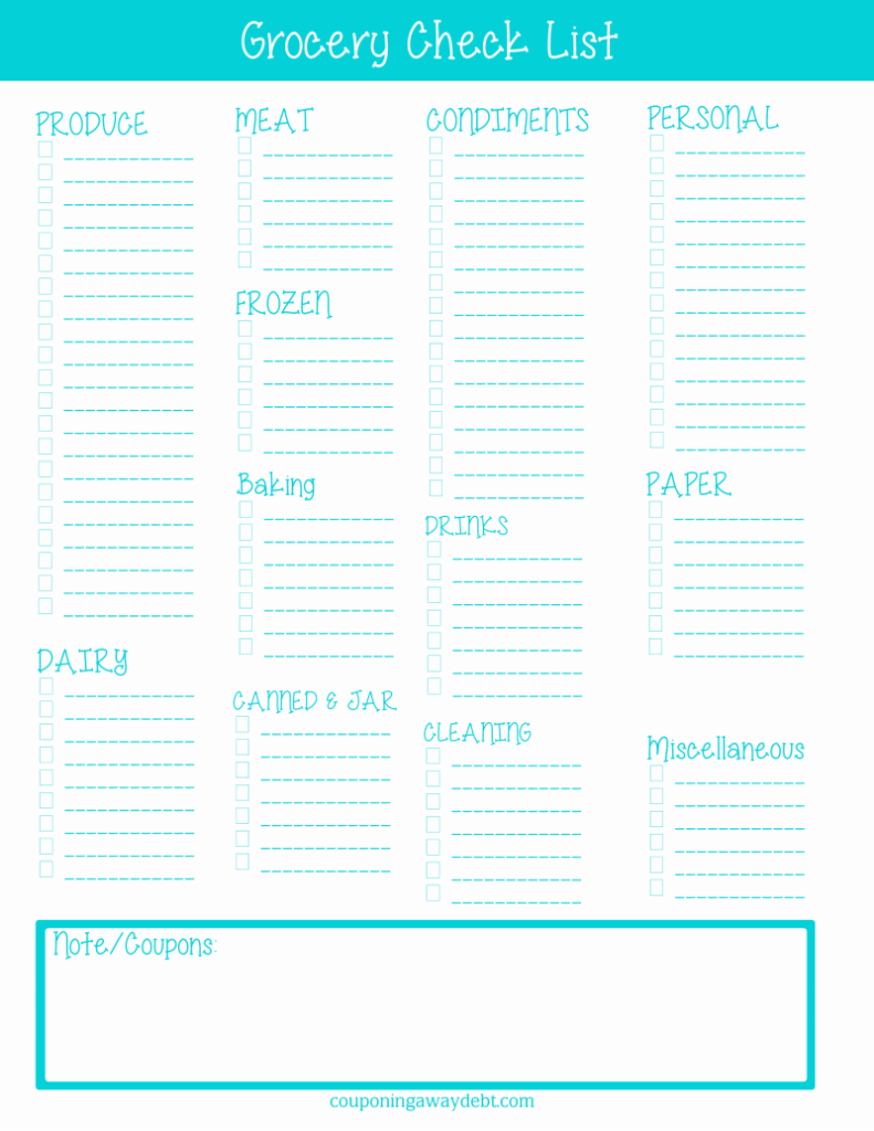 Grocery Check List Printable