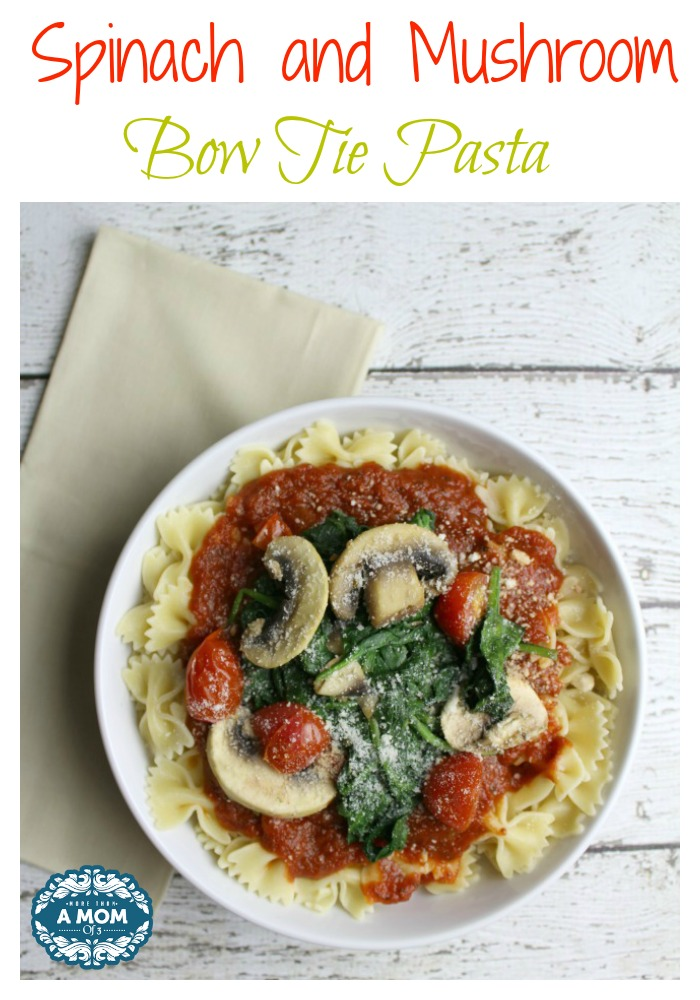 Spinach and Mushroom Bow Tie Pasta