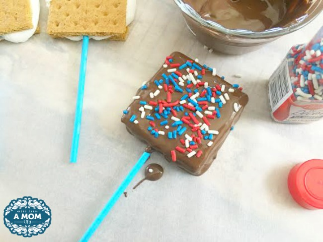 Patriotic Smores On A Stick For Memorial Day or July 4th