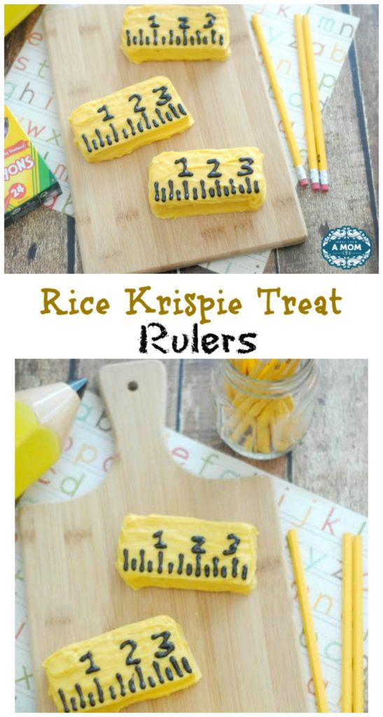 These Rice Krispie Treat Rulers make a traditional Rice Krispie Treat a little extra special with chocolate melted over top great for back to school!
