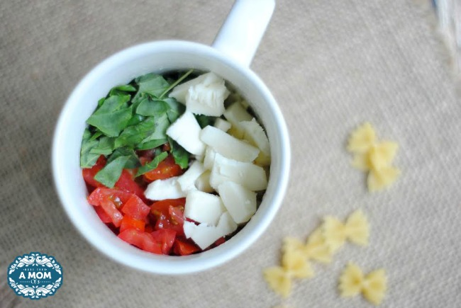 Simple and Easy Microwaved Caprese Pasta In A Mug