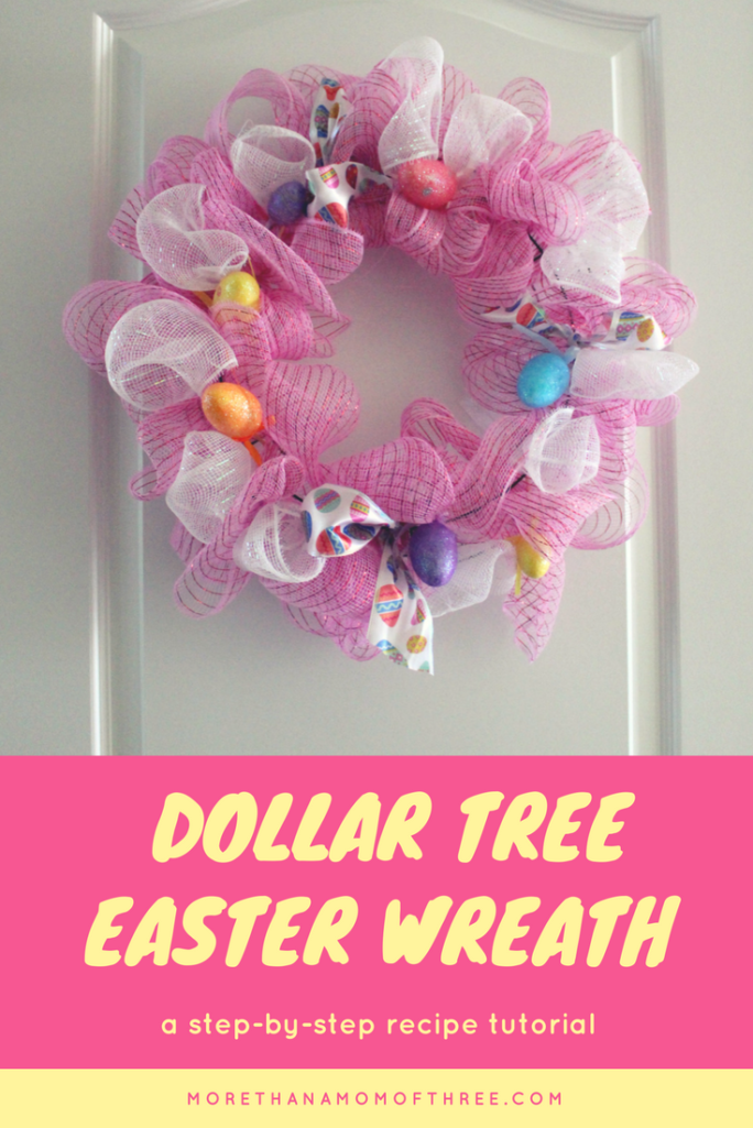 This Budget Friendly Dollar Tree Easter Wreath is such a fun DIY for Easter. Make it in under 10 minutes for 6 bucks.
