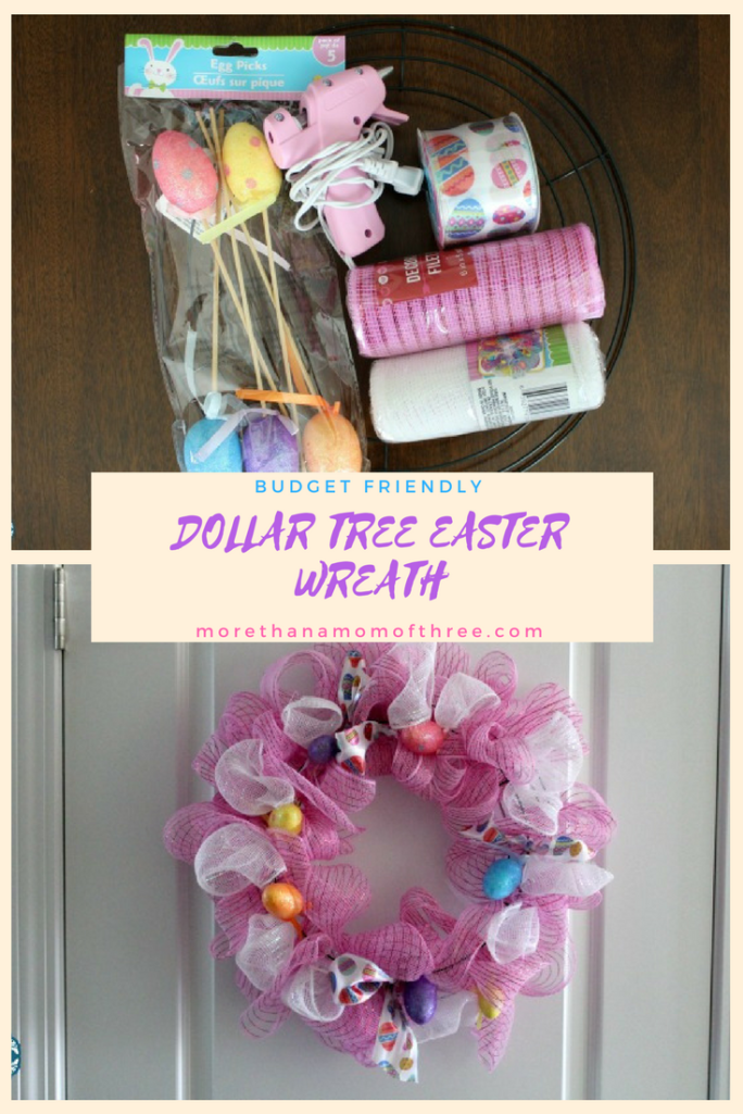 This fun DIY Easter wreath is a budget friendly find all from the Dollar Tree