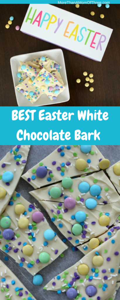 The Easiest Easter White Chocolate Bark with M&M's.Fun sweet treat for Easter everyone will love!