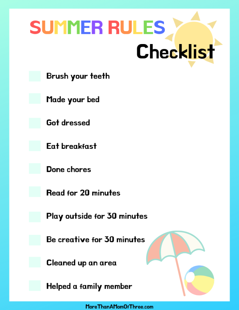 Summer rules for kids checklist printable