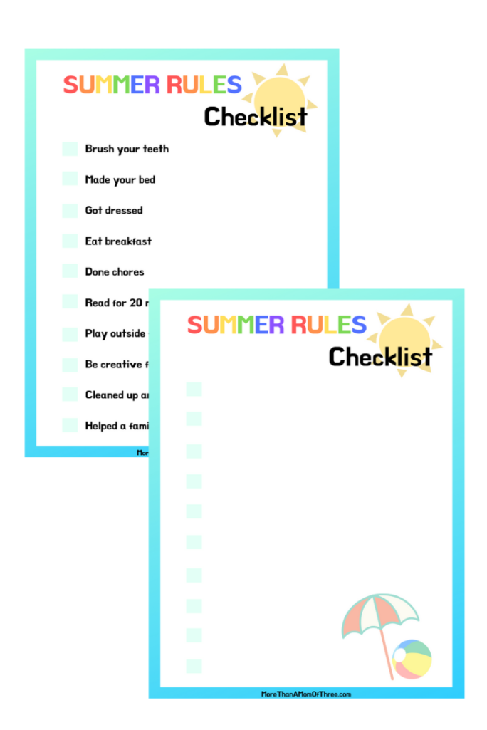Summer rules for kids checklist printables