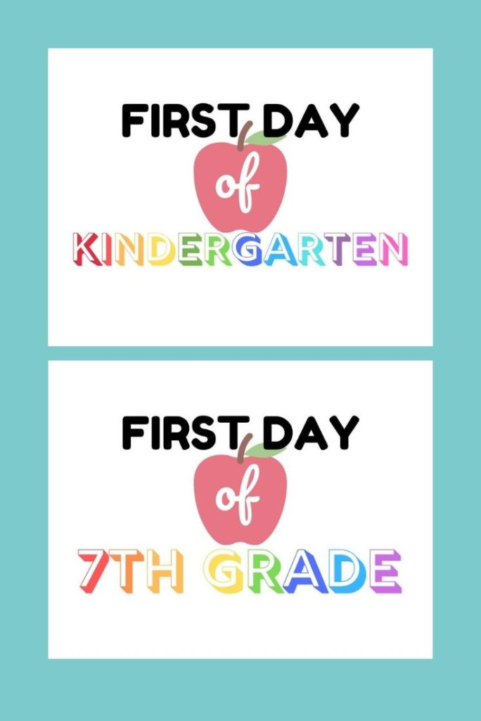 Take the perfect back to school picture with these free first day of school printable signs starting from preschool all the way up until 12th grade.