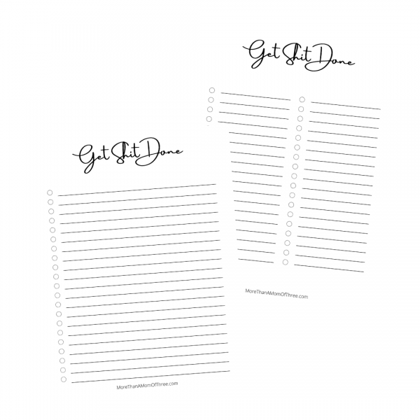 Get Shit Done Printable To Do List